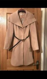 Brand New Miss Selfridge Camel Wrap Fit & Flare Coat - Size 6