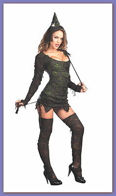 Dreamgirl WICKED WONDERFUL Adult Sexy WITCH Costume (L) Hat, Stockings, Wand NEW Adult Sexy Wicked Witch