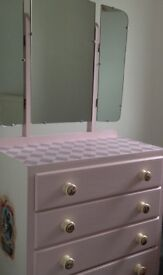 REDUCED 1950's set of drawers with mirror in Alice in Wonderland Design