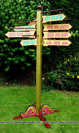FOR SALE FUNFAIR FAIRGROUND THEMED SIGN POST * PERFECT FOR GARDEN GAMES WEDDING HIRE ETC