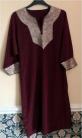 "Churidar Punjabi by Rivoli. Maroon silk with Embroidered front and sleeves 38"" 97cm Bust £5.00"