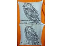 2xLARGE CREAM OWL PRINTED CUSHIONS