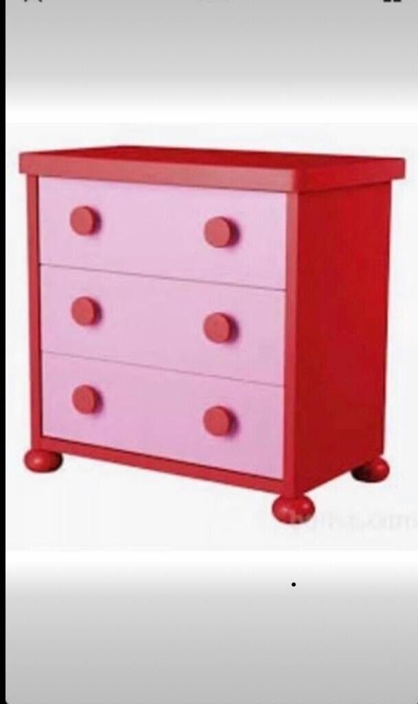 online retailer aeaaf f4093 IKEA kids children's bedroom nursery furniture wardrobe chest of drawers  bookcase in red and pink   in Granton, Edinburgh   Gumtree