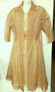 Vintage UK MADE 2 Piece DRESS JACKET SET XS PEACH Custom-made Wedding suit
