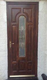 Solid Oak and lead glazed external door