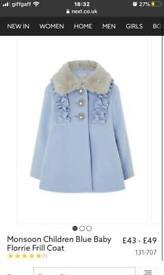 Baby girl monsoon coat