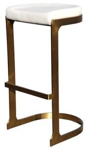 White Backless Barstool w/Brushed Yellow Gold Steel Base for Commercial n Residential use