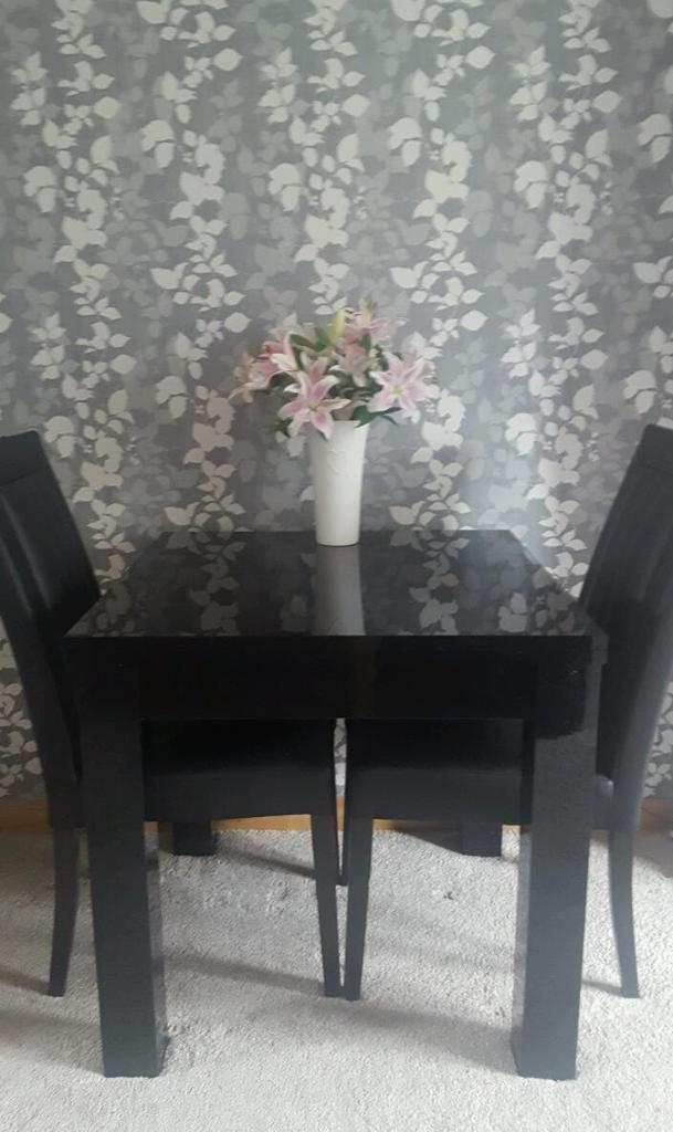 Next Black Gloss Extending Dining Table