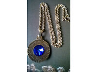 vintage gold plated heavy sapphire pendant and chain.
