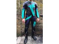 La trek motorcycle leather suit with protection