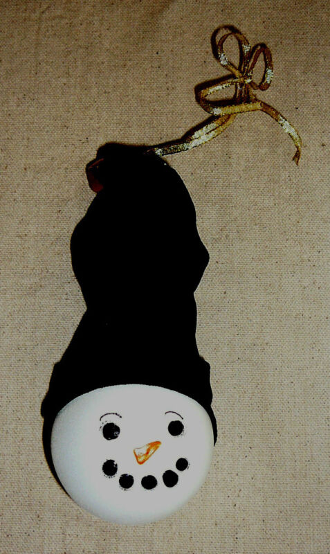 SNOWMAN LIGHT BULB ORNAMENT~Handcrafted~Handpainted~NEW~FREE SHIP