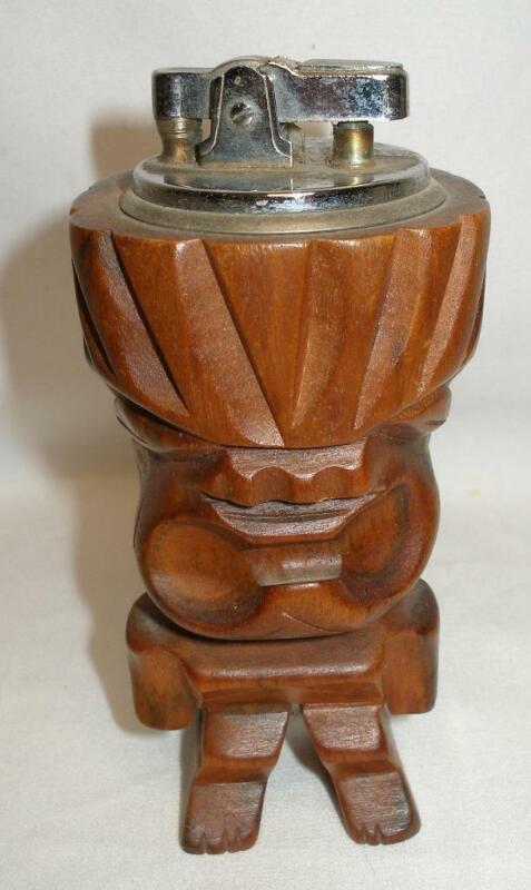"Vintage 4"" Wooden TIKI Bar Table Cigarette Lighter Hawaii Hawaiian"