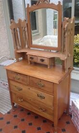 Old style solid wood bedside dressing table with mirror