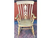 ROCKING CHAIR SOLID BEECH RETRO/VINTAGE SPLAT BACK&SHAPED ARMS PLEASE VEIW ALL NINE PHOTOS