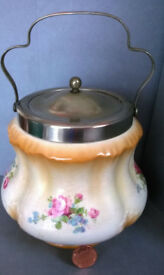 vintage ceramic handled tea caddy