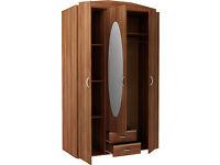 New Castle 3 Door 2 Drawer Mirrored Wardrobe - Walnut
