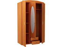 New Castle 3 Door 2 Drawer Mirrored Wardrobe - Oak