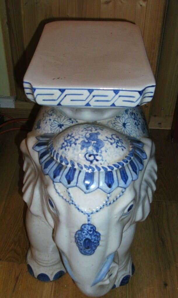 Ceramic Blue And White Elephant Plant Stand Side Table
