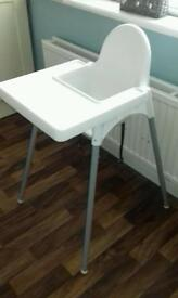 Ikea highchair with straps and tray