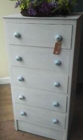 Tall , slim , Painted 5 Drawer chest