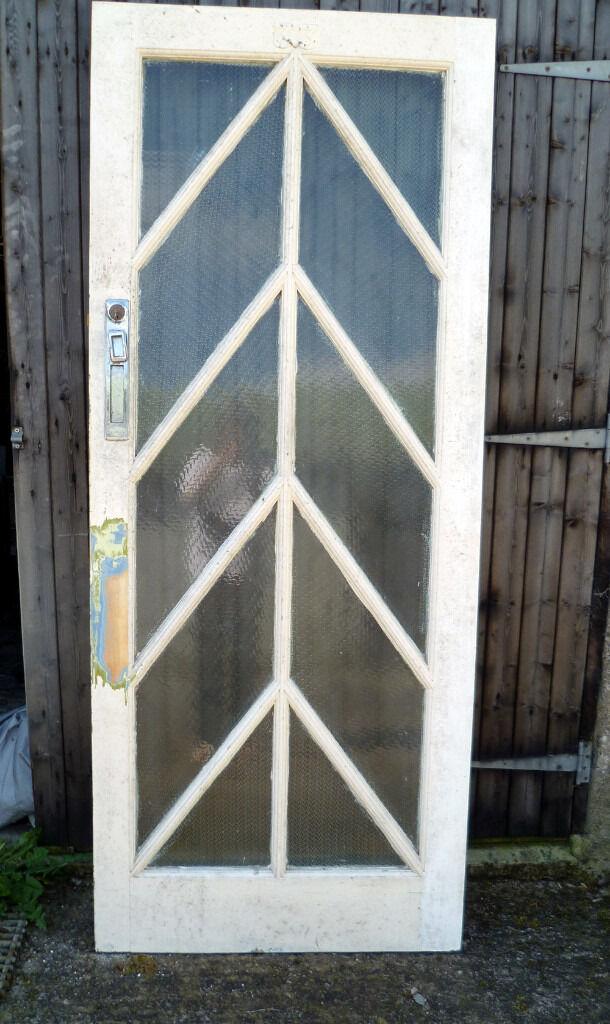 Reclaimed Front Door Solid Oak Glass 1940s50s60s Exterior