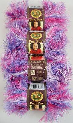 4 Skeins Lion Brand FUN FUR EYELASH Yarn COTTON CANDY #300 PINK PURPLE WHITE NEW
