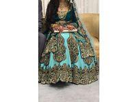 designer velvet/silk lehnga: teal turquoise