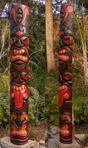 "Tiki Totem 3 face Tribal Wood Wall Mask Patio Tropical Bar Decor 60"""