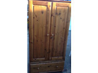 vintage wardrobe cupboard in real pine wood vintage with shelve and hanger bar