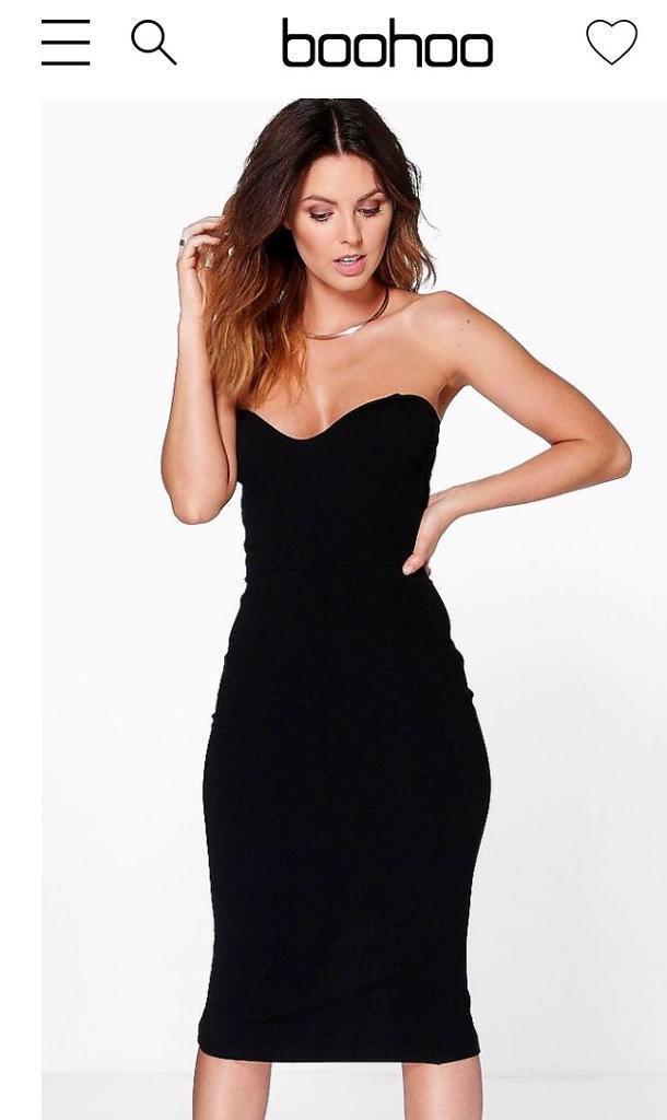 Boohoo Night Black Crepe Midi Dress Size 12