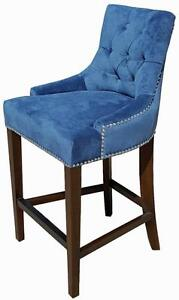 Blue Velvet Fabric Tufted Kitchen Counter Stool w/Silver Nail Head Trim