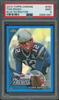 2010 Topps Chrome Blue Refractor #C80 Tom Brady 176/199 RC Rookie Mint PSA 9