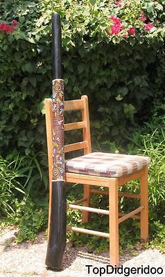 "51""130cm Teak Wood DIDGERIDOO+Bag+Beeswax Mouthpiece * Aboriginal Dot-Paint Art"