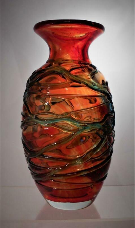 Rare Vintage Maltese Mdina Vase With Trailed Ribbing Signed Perfect Present