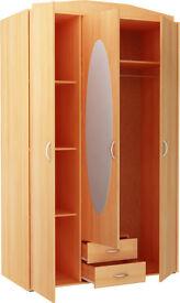 New Castle 3 Door 2 Drawer Mirrored Wardrobe - Beech