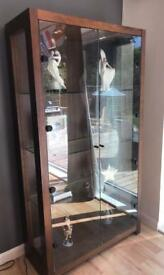 Cabinet with glass shelves & lighting