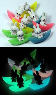 Glow-in-the-Dark School Erasers - RABBIT BOATS - Glowing Kids Eraser Set ~ Anime (Rabbit Glow In The Dark)