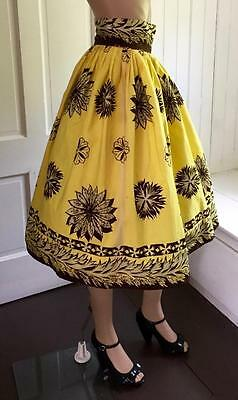 "Super Fun High Waisted Vintage Tropical Print Yellow Cotton Skirt 1950's 26""w"