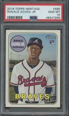2018 Topps Heritage #580 Ronald Acuna Jr RC Rookie Gem Mint PSA 10