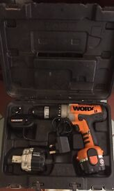 Worx 14.4v cordless drill, battery,charger and box. Working order. NO OFFERS