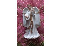 TRADITIONS VINTAGE Christmas Angel Ornament Lute Large Porcelain Figurine White & Gold Decorations