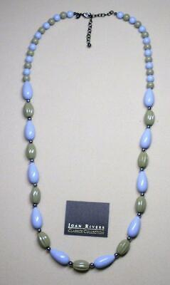 """JOAN RIVERS HEMATITE BLUE & GREEN FLUTED PLASTIC BEAD NECKLACE 34"""" LONG NEW"""