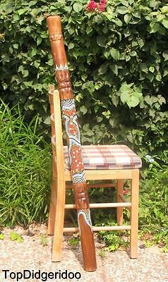 "47""120cm Aboriginal DIDGERIDOO Turtle Hand-Carved Dot-Painted Art +Bag +BeesWax"