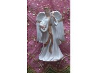 """*Porcelain Christmas Angel Ornament with Lute Large Figurine: """"Traditions"""" White & Gold: Decorations"""