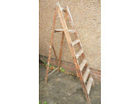 Paint Splattered Wooden Step Ladder - Attractive Shop Display Item