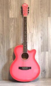 Factory Error-Acoustic Guitar Pink for beginners 40 inch full size iMusic32-1