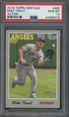 2019 Topps Heritage Action #485 Mike Trout Gem Mint PSA 10