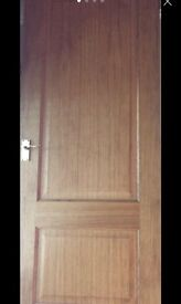 Interior Solid Oak interior door with brass handle /hinges