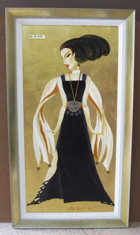 "Alina Eydel ""Black and Gold Glamour"" Framed Original glass mosaic beads art deco"