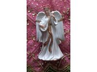NEW Porcelain TRADITIONS Christmas Angel Ornament with Lute Large Figurine White & Gold Decorations